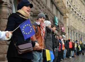 A Kiev ce vendredi. (Photo Sergei Supinski. AFP)