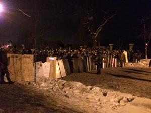 Kyiv, rang de protection de la barricade d'Institutska ul., 24