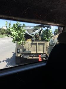 Contrôle militaire ukrainien à Popasne, le 23/07/2014