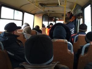 Vue d'un bus de réfugiés, le 04/02/2015