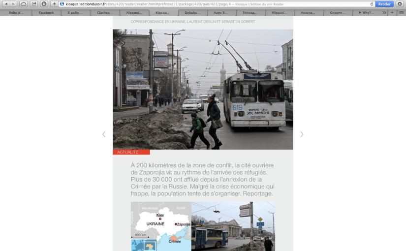 Ouest France: Reportage àZaporijia