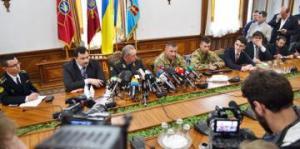 Conférence de presse du chef d'état-major ukrainien Victor Mujenko, le 18/05/2015. Source: mil.gov.ua