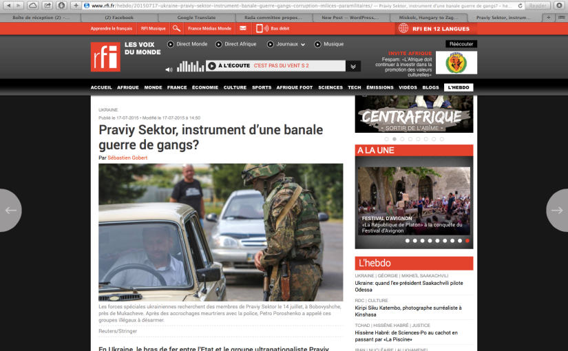 RFI: Praviy Sektor, instrument d'une banale guerre degangs?