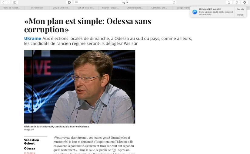 La Tribune de Genève: «Mon plan est simple: Odessa sans Corruption!»