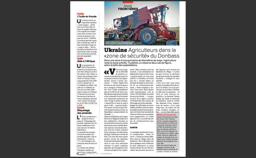 La France Agricole: Etre agriculteur dans la «zone de sécurité» duDonbass