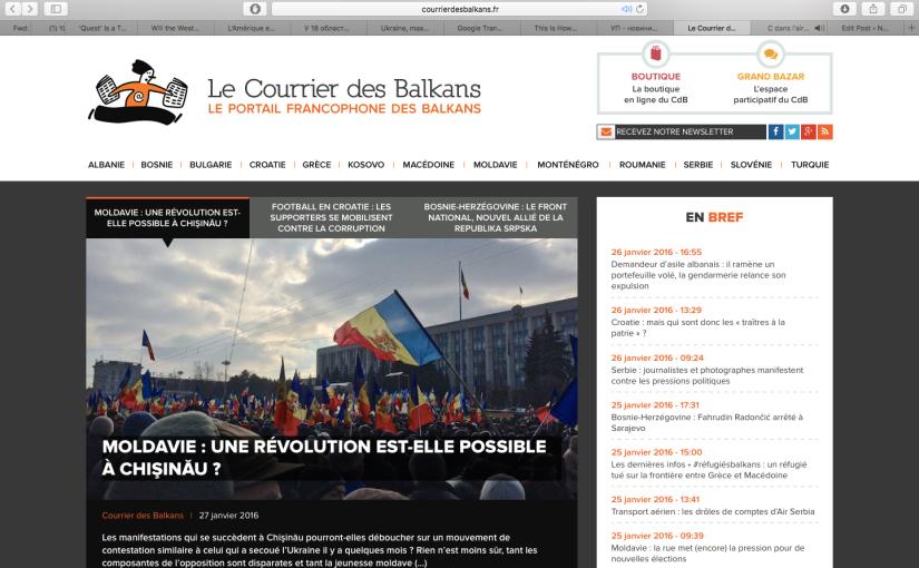 Le Courrier des Balkans: Une Révolution est-elle possible enMoldavie?