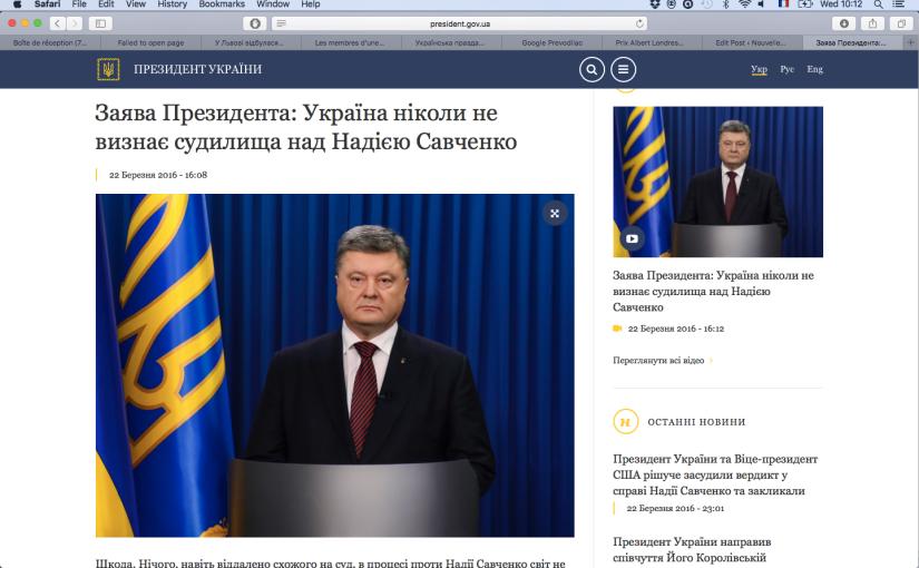 RFI: Nadia Savtchenko et une «parodie de justice»