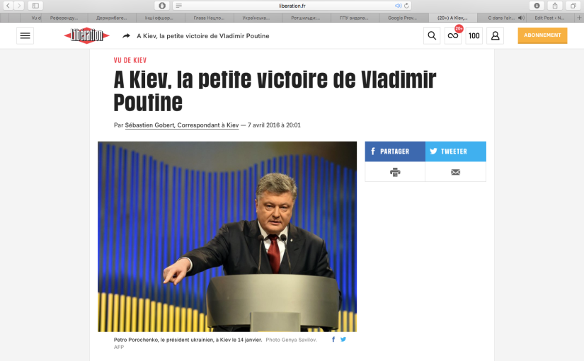 Libération: A Kiev, la petite victoire de VladimirPoutine