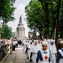 Kiev, Ukraine, 27 july 2016. Two pilgrimmages organized by the Ukrainian Orthodox Church under the Moscow Patriarchate [OUC MP] and departing from opposed sides of the country (Ternopil oblast and Donetsk oblast) gathered today near St. Volodimir Hill to commemorate the eve of the Festival of the Baptism of Kyivan Rus. To avoid clashes with nationalists activists, ukrainian authorities mobilized more than 6000 policemen and installed security controls at the beginning of the march. © Credit: Niels Ackermann / Lundi13