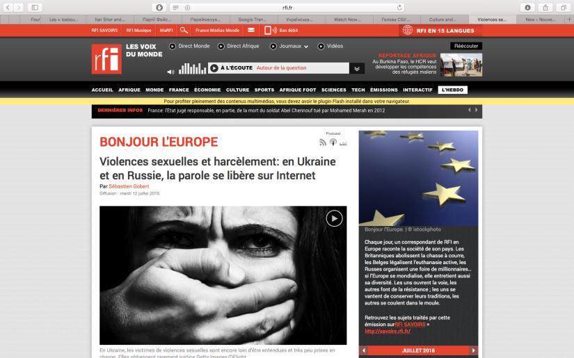 RFI: Violences sexuelles et harcèlement: en Ukraine et en Russie, la parole se libère surInternet