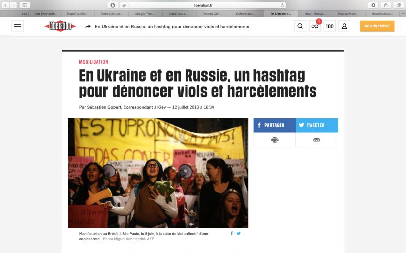 Libération: En Ukraine et en Russie, un hashtag pour dénoncer viols etharcèlements