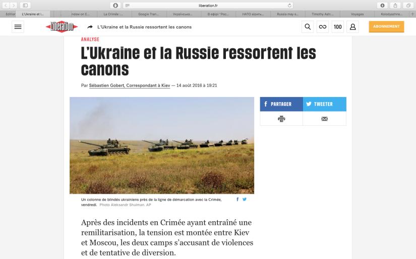 Libération: L'Ukraine et la Russie ressortent lescanons