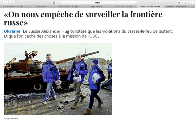 TDG: L'OSCE observe de fortes tensions dans leDonbass