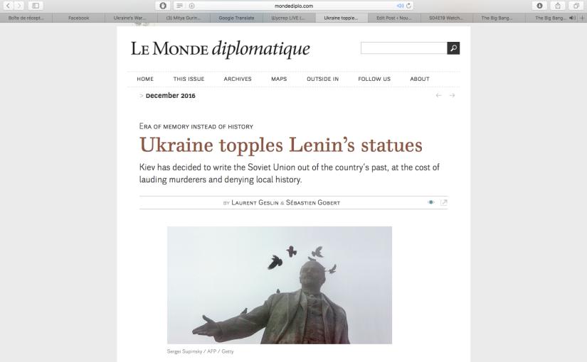 Le Monde Diplomatique: Ukraine topples Lenin'sstatues