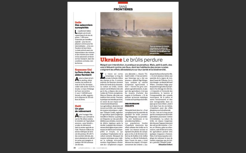 La France Agricole: Le Brûlis perdure enUkraine