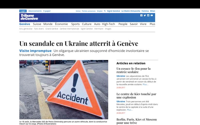 TDG: Un scandale ukrainien atterrit àGenève